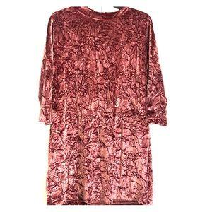 NWOT Zara Pink crushed velvet dress. Size Small.